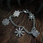 Браслет Обережный-серебро-шлем ужаса-валькирия-макошь-алатырь-звезда лады