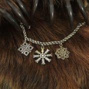 браслет серебряный с оберегами на подвесе