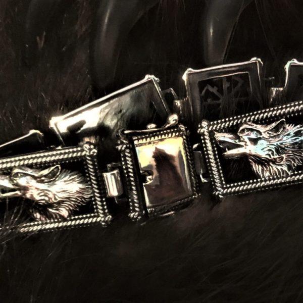 браслет мужской серебро-оберег