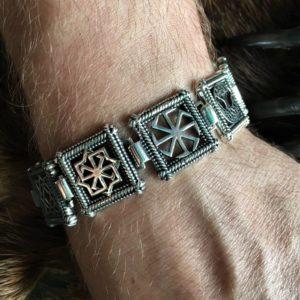 Мужской браслет с славянскими оберегами, серебро
