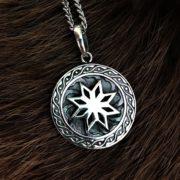 Алатырь — серебро, кулон, двухсторонний, значение-Логово волка магазин
