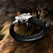 Мужские браслеты плетёные. Натуральная кожа. Серебро 925 пробы.