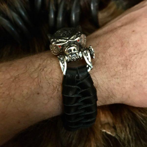 браслет медведь-браслет с медведем-купить браслет с медведем-браслет из серебра-паракорд с серебром-браслет из верёвки- серебряные браслеты