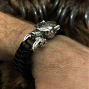Цена 7000 рублей. Браслет из серебра и плетёной кожи. Ручная работа. Мужской браслет. Отзывы.